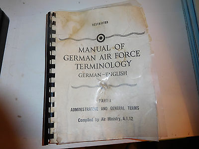 REPRINT manual German air force terminology Air Ministry A.1.12 parts 1-6 used