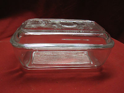 Vintage Arcoroc Clear Glass Butter Cheese Dish Bull Cow Lid Refrigerator Dish
