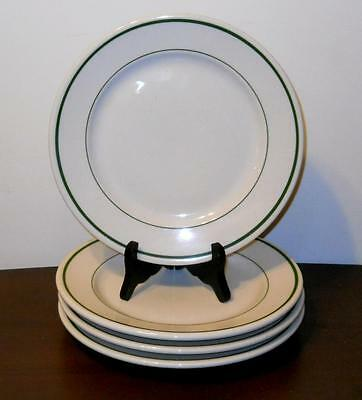 "4 Buffalo China Niagara Green Stripe 8 7/8"" Dinner Plates NOS Diner Restaurant"