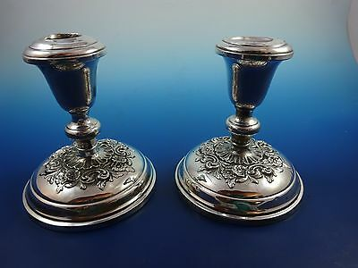 Pair of Sterling Silver Buttercup by Gorham Candlstick Holders Weighted