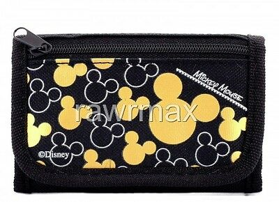 Brand New Disney Mickey Mouse Wallet Tri Fold Kids Licensed NWT- Black Gold