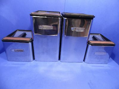 Vintage Masterware Kitchen Canister 4 Piece Set Chrome Metal Black USA