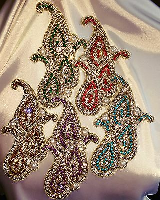 PRICECUT!! Embroidered Paisley Crystal Rhinestone Applique (LIMITED EDITION)