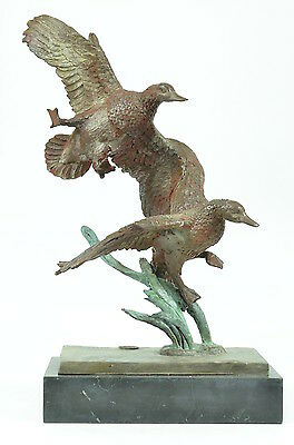 Bronze Sculpture Signed Original Marsh Land Duck Statue Marble Base Figurine BO2
