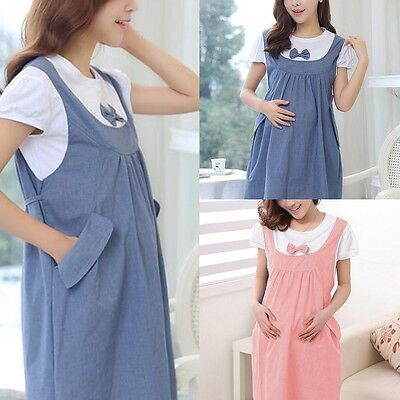Summer Maternity Dress Bow Clothes For Pregnant Women Pregnancy Clothing L-XXL