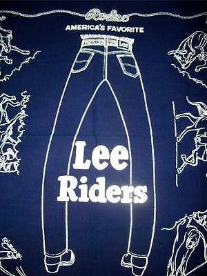 Vintage LEE Riders Bandana Handkerchief Blue RODEO Roping Bull Riding Bronc