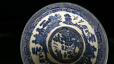 Stunning Johnson Blue And White Old Willow Pattern Ironstone Large Bowl