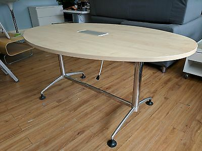 Oval meeting or conference room table with integrated sockets, network etc