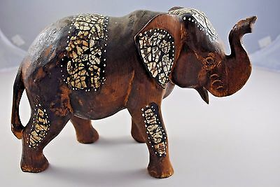 Large Hand Made Decorative Wooden ELEPHANT 190mm Tall