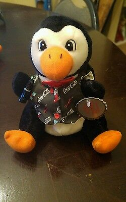 Nwt Coca Cola Bean Bag Plush 1998 Penguin W/ Holiday Vest #0172