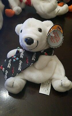 Nwt Coca Cola Bean Bag Plush 1998 Polar Bear In Holiday Scarf # 0163