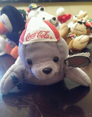 Nwt Coca Cola Bean Bag Plush 1997 Seal W/ Baseball Cap #0107