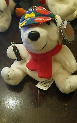 Nwt Coca Cola Bean Bag Plush 1998 Polar Bear W/ Cap & Scarf #0167