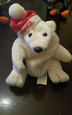 Nwt Coca Cola Bean Bag Plush 1997 Polar Bear In Santa Hat