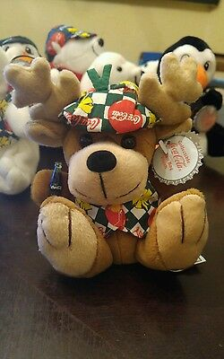 Nwt Coca Cola Bean Bag Plush 1998 Reindeer In Vest #0168
