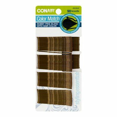 LOT of 3 - Conair 55352z Brown Bobby Pins 90 Count each - Total of 270