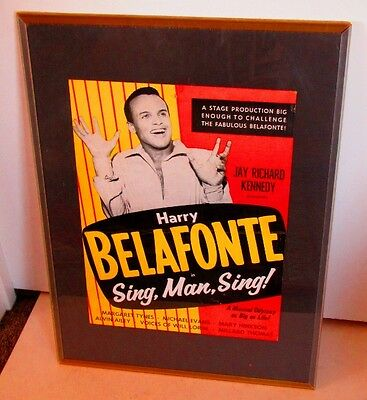 Vintage 1956 Harry Belafonte Poster Sing Man Sing Theater Show Musical Placard