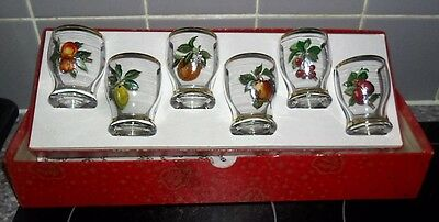 VINTAGE SET OF 6 whisky shot glasses  in there box made by astra 1950/60