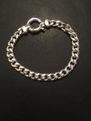 Sterling Silver Round Belcher Bracelet 925 Made In Italy 20cm 100% Authentic...