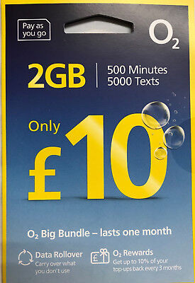 2 x o2 big bundles 250 mins 250 texts 4GB data sim card - official pack