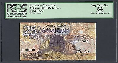 Seychelles 25 Rupees ND(1983) P29s Specimen Uncirculated