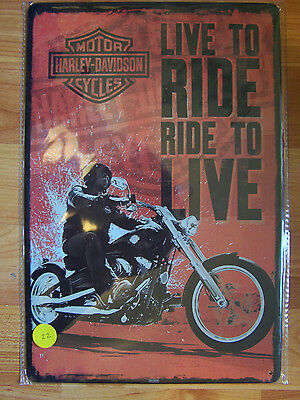 Harley Davison, Live to Ride, Ride to Live Tin Sign