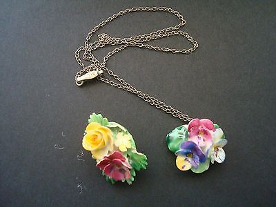 Crown Staffordshire Bone China Floral Pendant On Silver Chain And Floral Brooch
