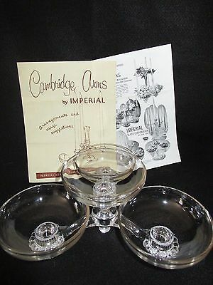 CAMBRIDGE By IMPERIAL Arm Set w/Ad (1) 4 Lite Holder & 4 Peg Nappy Bowls Epergne