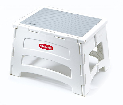 Rubbermaid Folding 1-Step Plastic Sturdy Strong Step Up Stool - Free Shipping