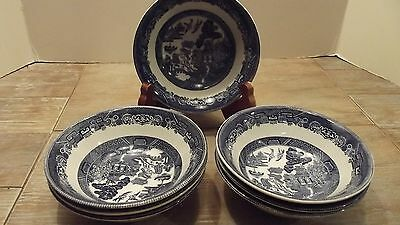 "Johnson Brothers England Blue Willow Small Fruit Bowls,  6"" lot of 7"