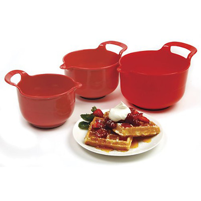Mixing Bowls, Red, with handle - non slip - Set of 3 -Free Shipping