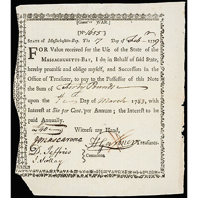 Colonial Currency, MA 1779, Committee of War Bond