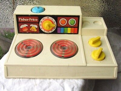 Vintage Fisher Price STOVE COOK TOP MAGIC BURNER BELL -PLAY KITCHEN 919 -1978