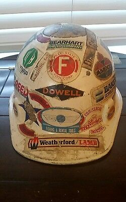 Vintage Hard Hat with Oil and Gas Decals  and Vintage Trucking Decals