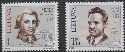 Personalities stamps, 2003, writer, architect, Lithuania, SG ref: 799 & 800, MNH
