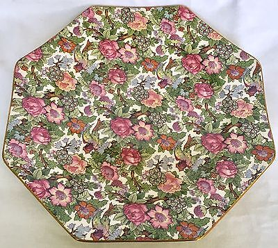 Vintage CROWN DUCAL Lunch Plate, VICTORIA Chintz, Octagon, 8.5""