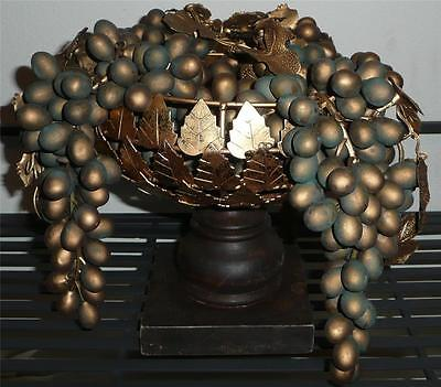 """Wood and Metal Open Gold Leaf Compote and Gold Grapes 7 3/8"""" high"""