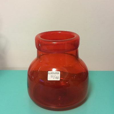Retro Translucent Orange Blown Glass Vase Numbered 81/150