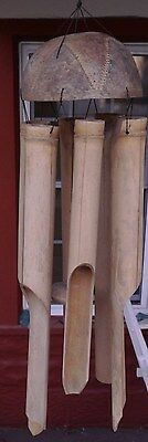 Vintage Large Woodstock 6 Tube Hand Crafted Bamboo Art Coconut Shell Wind Chime