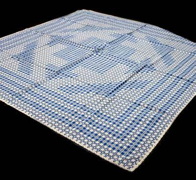 Vintage 1950s gingham blue & white check tablecloth measuring 116cm square.