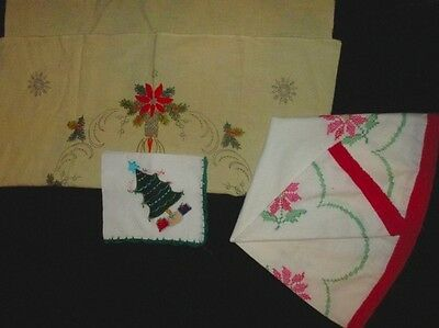 Lot of 3 Christmas Linens for Completion reuse Round and Square Tablecloth Doily