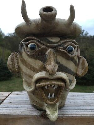Swirl Ring Jug-Devil Face Jug Catawba Valley Pottery Of Gary Mitchell-AsIs