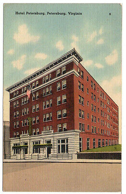 1930 Linen Postcard Historic Hotel Petersburg VA  1800s Virginia Unposted