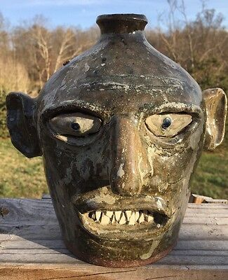 Oh My! My Favorite! So Unique And Creepy Early Joe Reinhardt Face Jug!!