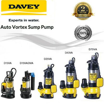 Davey Automatic Multi-purpose Vortex Pumps, D15VA,D15VAGMA,D25VA,D40VA,D75VA
