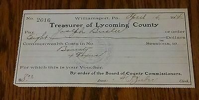 1914 PA Penn Hunting Fur License Williamsport Lycoming Co Fox Bounty