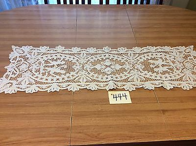 """Reticella Lace 32""""X 10"""" Table Runner Vintage White"""