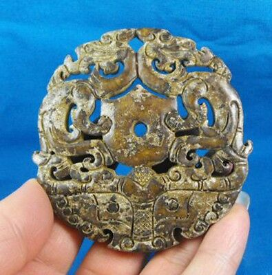 Chinese Antique Jade Carved Dragon Statue R2042