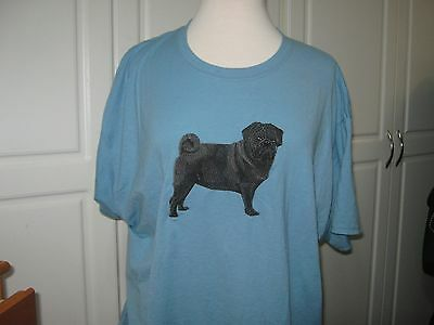 New  Black  Pug Full Body View Embroidered T-Shirt Add Name For Free