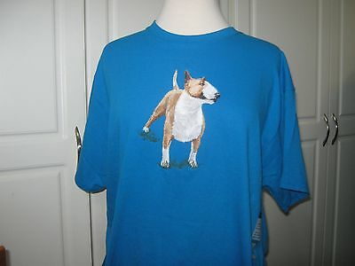 New Bull Terrier Full Body View Embroidered T-Shirt Add A Name For Free